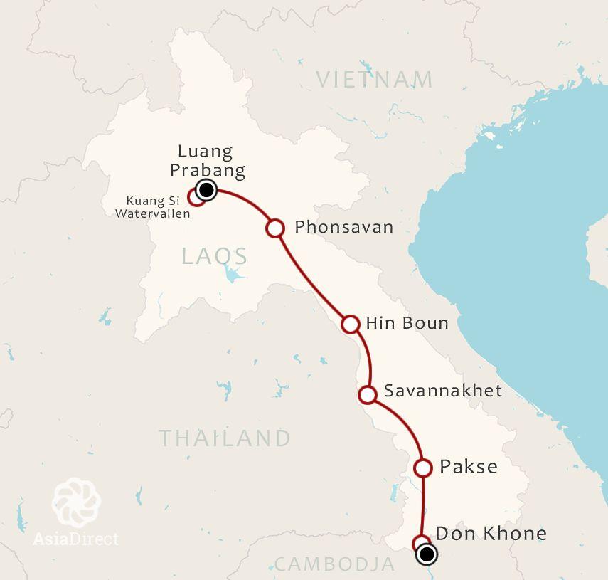 Routekaart 13 Daagse rondreis Best of Laos