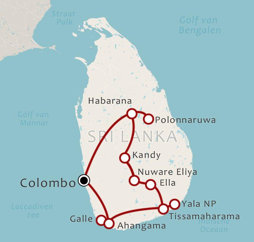 Routekaart 13 Daagse rondreis Sri Lanka Do it your way Deluxe