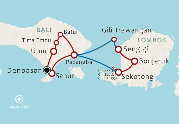 Routekaart 14 Daagse rondreis Bali Lombok en Gili Trawangan