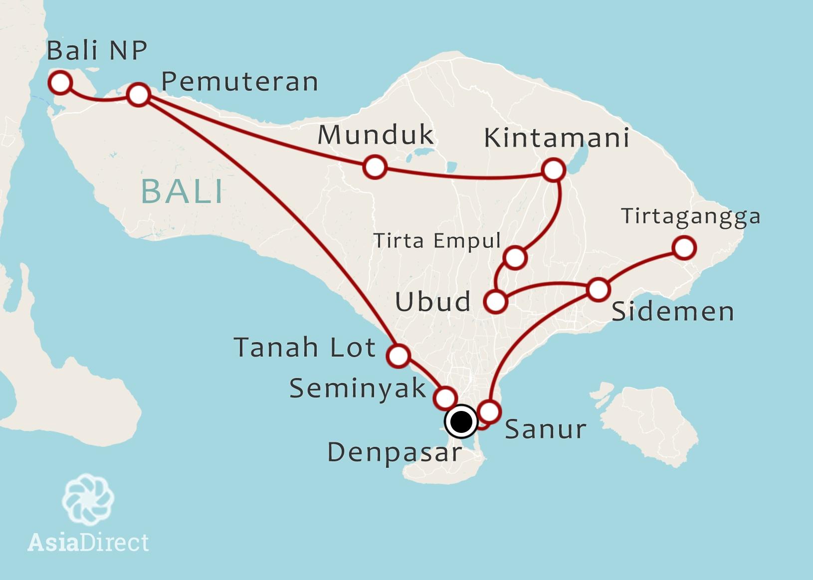 Routekaart 14 Daagse rondreis Bali