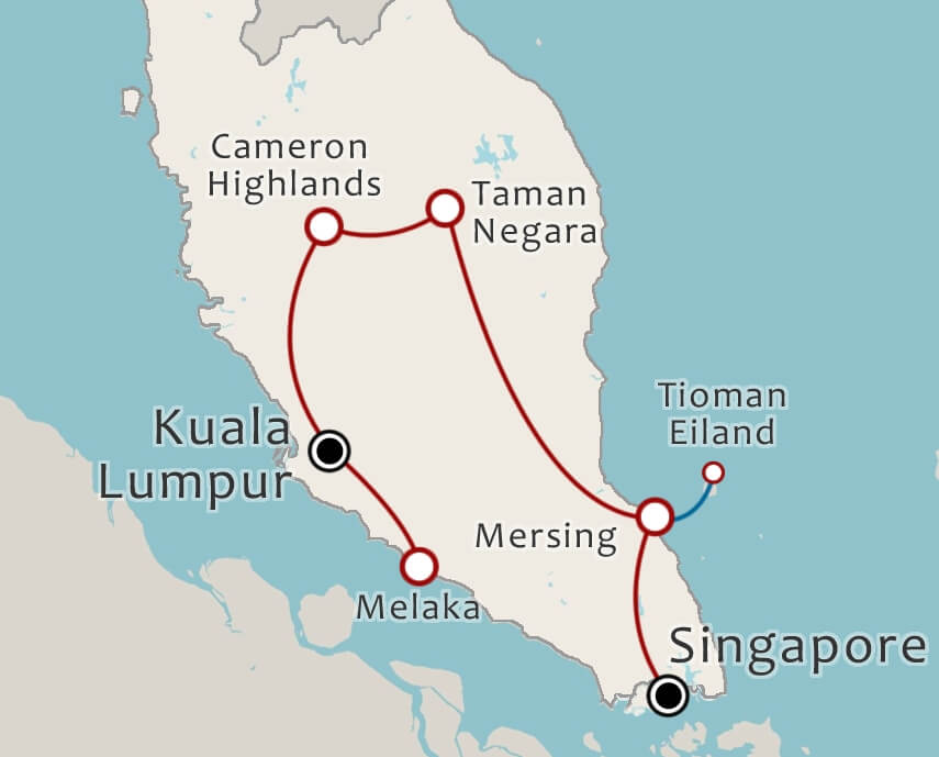 Routekaart 14 Daagse rondreis Maleisie en Singapore