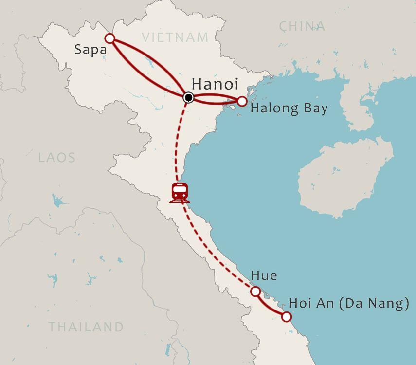 Routekaart 14 Daagse rondreis Noord en Centraal Vietnam