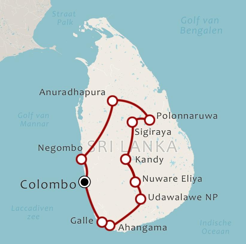 Routekaart 16 Daagse rondreis Sri Lanka