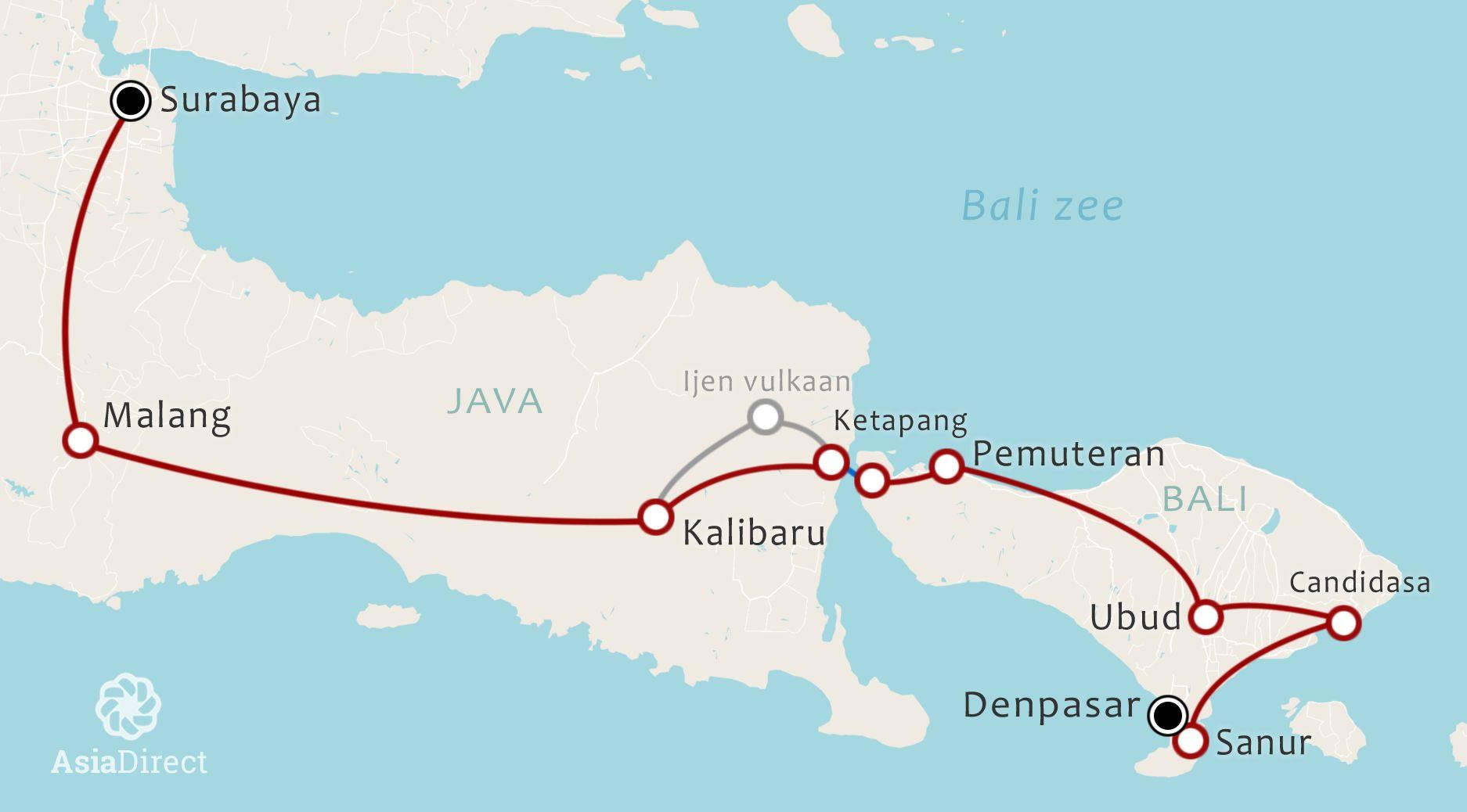 Routekaart 16 daagse Oost Java en Bali