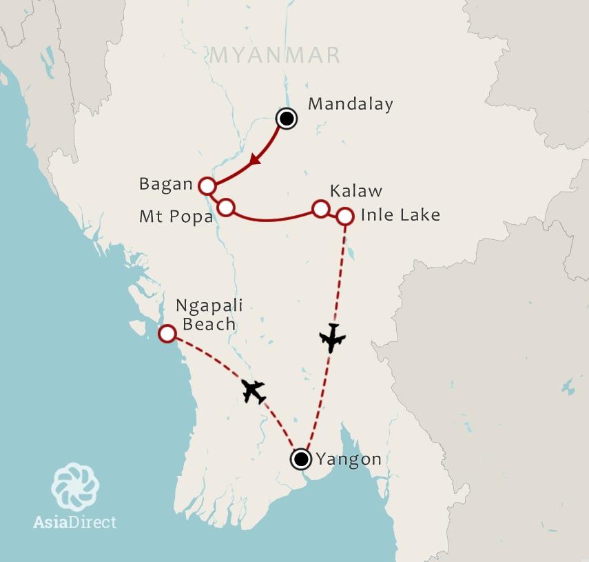 Routekaart 17 Daagse rondreis Best of Myanmar