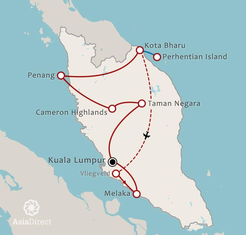Routekaart 17 Daagse rondreis Hart van Maleisie Selfdrive
