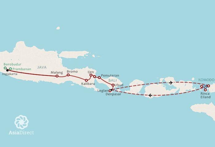 Routekaart 17 Daagse rondreis Java Bali en Komodo