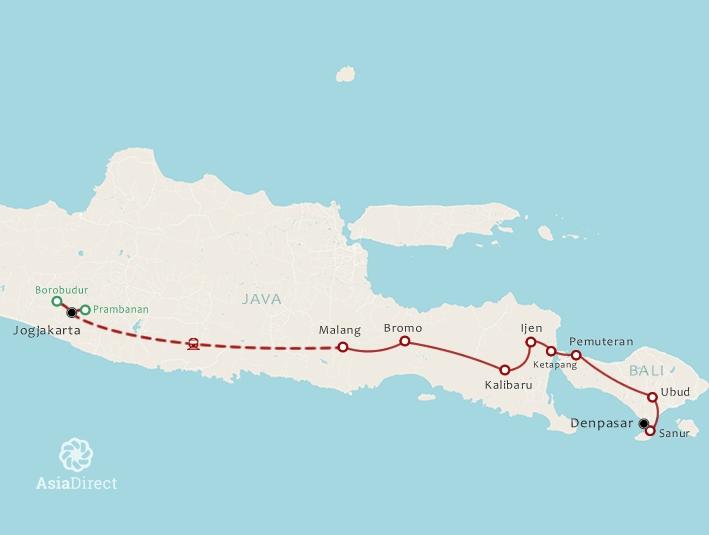 Routekaart 17 Daagse rondreis Java en Bali