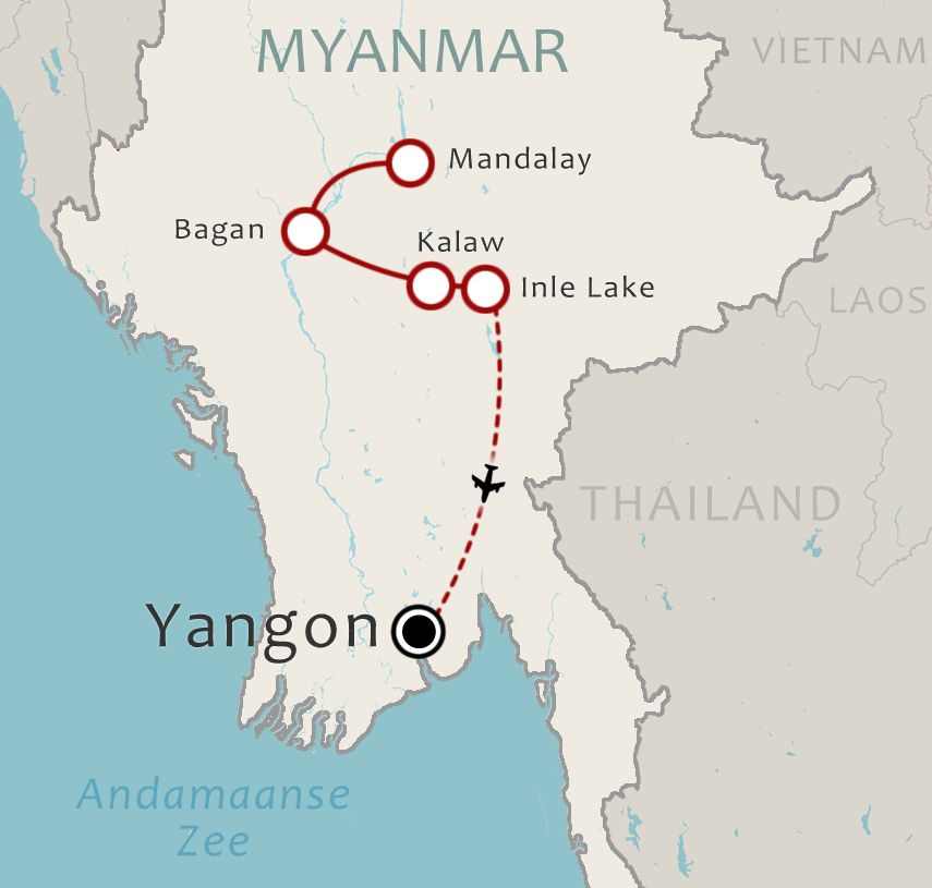 Routekaart 17 Daagse rondreis Myanmar Do it your way