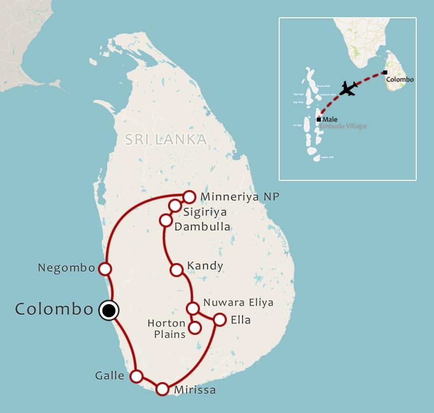 Routekaart 17 daagse Sri Lanka en Malediven