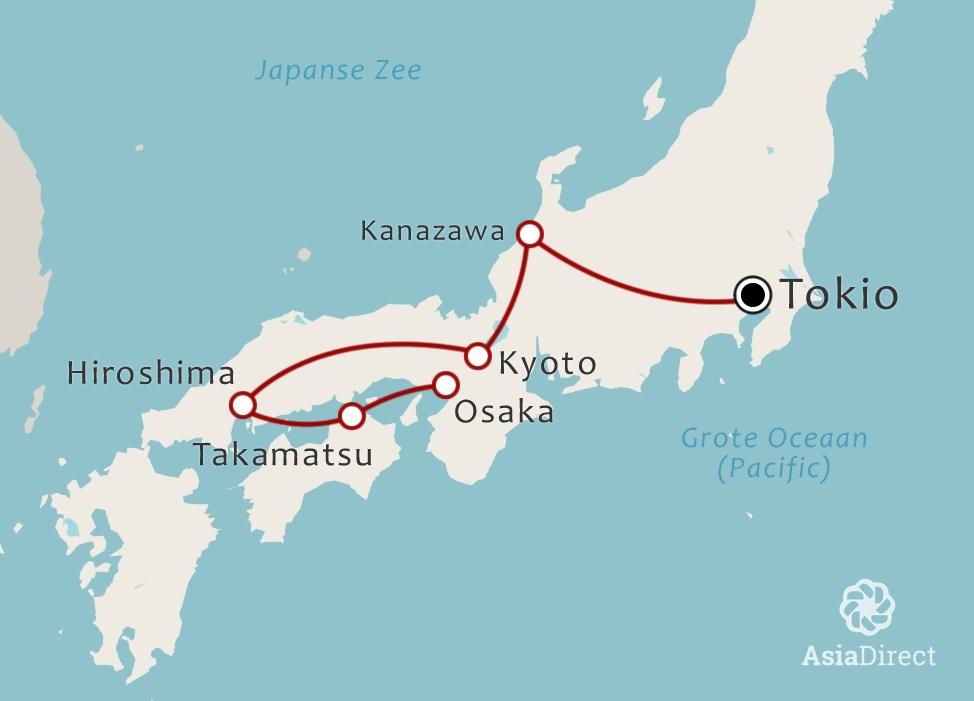 Routekaart 17 daagse rondreis Japan
