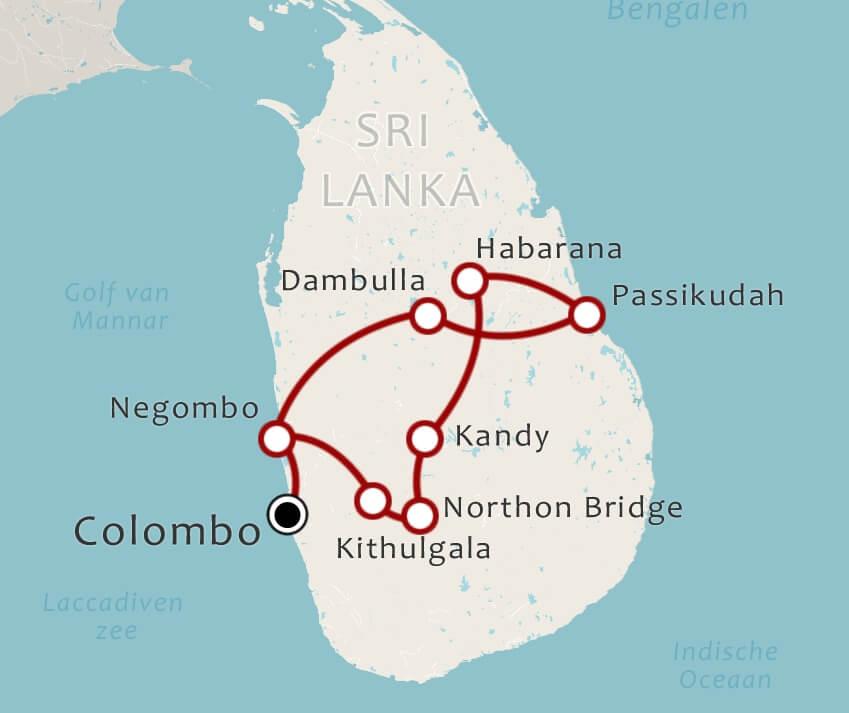 Routekaart 18 Daagse rondreis Centraal Sri Lanka