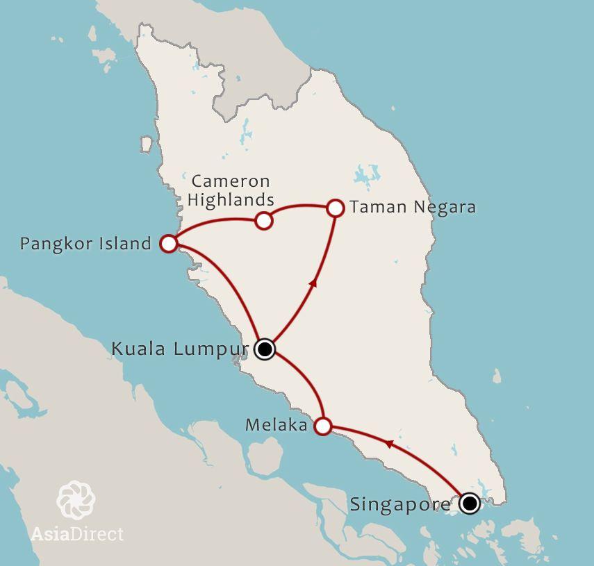 Routekaart 18 Daagse rondreis Ervaar Singapore Maleisie