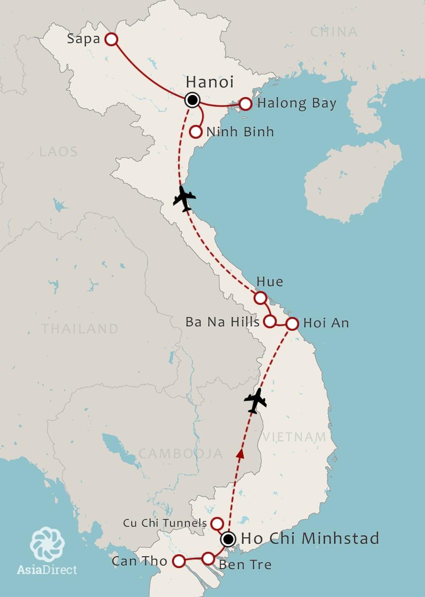 Routekaart 18 Daagse rondreis Highlights van Vietnam