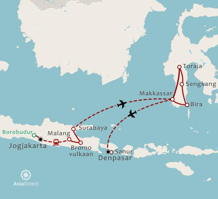 Routekaart 19 Daagse rondreis Java Sulawesi en Bali