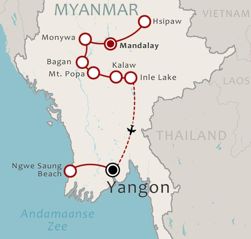 Routekaart 21 Daagse rondreis Myanmar Compleet