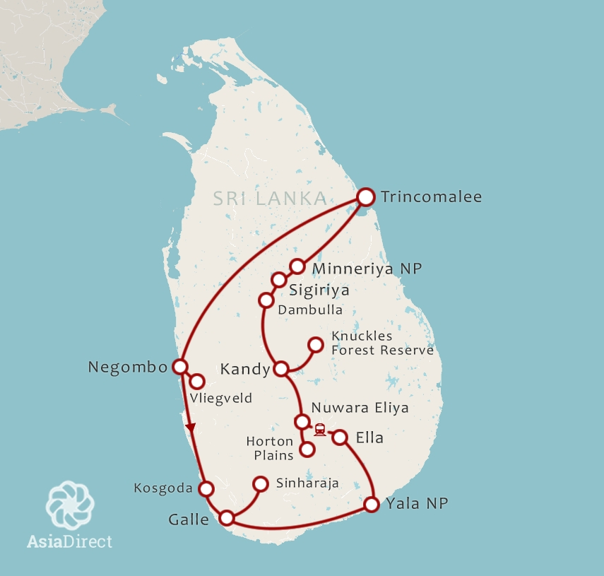 Routekaart 21 Daagse rondreis Natuur en Wildlife Sri Lanka eindigend in oost