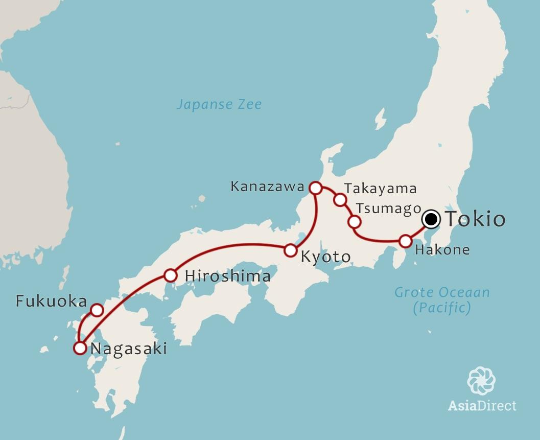 Routekaart 21 daagse familiereis Japan
