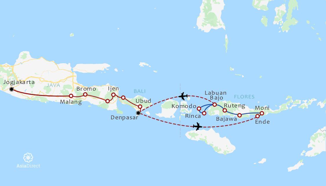 Routekaart 22 Daagse rondreis Java Bali Flores en Komodo