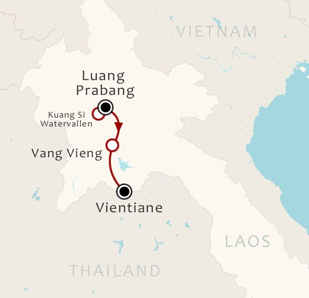 Routekaart 8 Daagse rondreis Hoogtepunten van Laos Noord naar Zuid