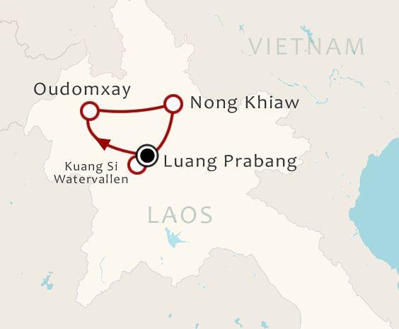Routekaart 8 Daagse rondreis Ontdek Noord Laos