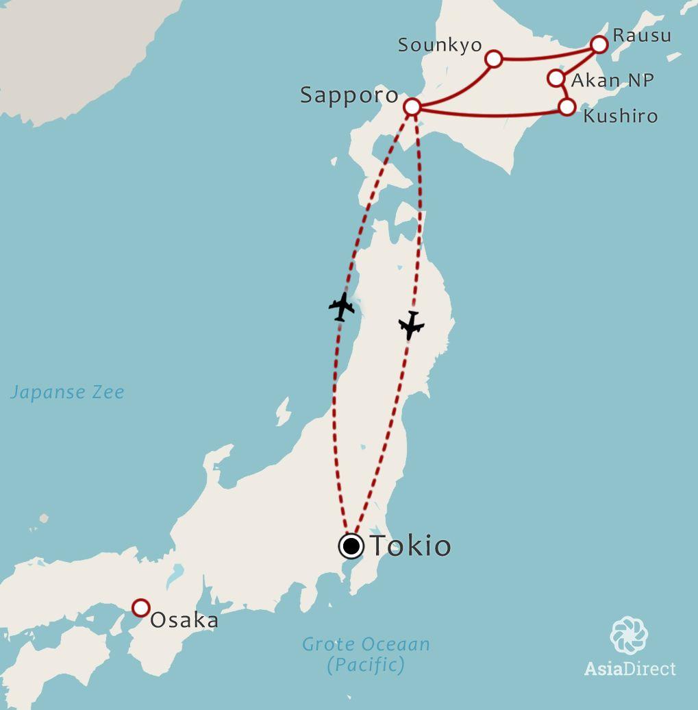 Routekaart 9 daagse rondreis Hokkaido