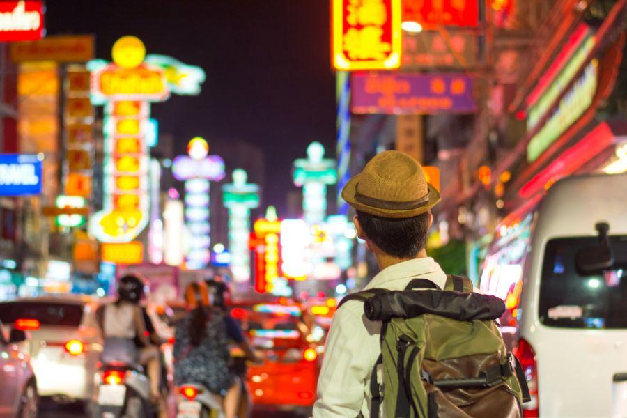 Thailand Bangkok Reiziger in Chinatown