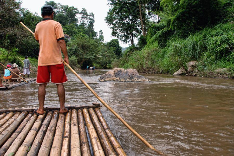 Thailand Chiang Mai omgeving raften bamboeraft jungle rivier 4
