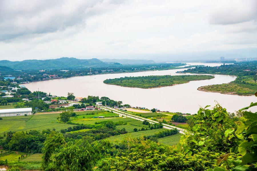 Thailand Chiang Sean stad uitzicht op mekong rivier