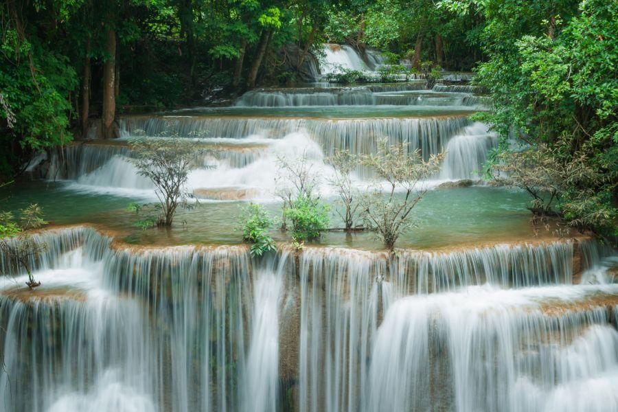 Thailand Kanchanaburi Erawan watervallen