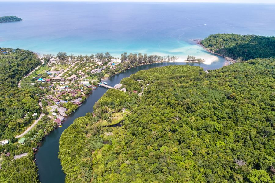 Thailand Koh Kood island aerial view Green tropical mangrove forest with villages natuur