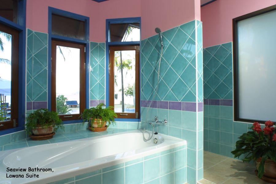 Thailand Koh Samui Lawana Resort badkamer van de suite zeezicht