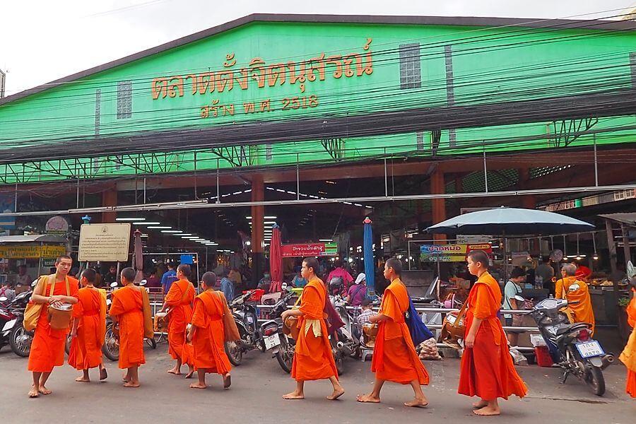 Thailand Nan Ochtendmarkt Zonsopkomst monniken