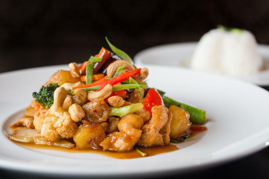 Thailand Thaise keuken noedels cashews