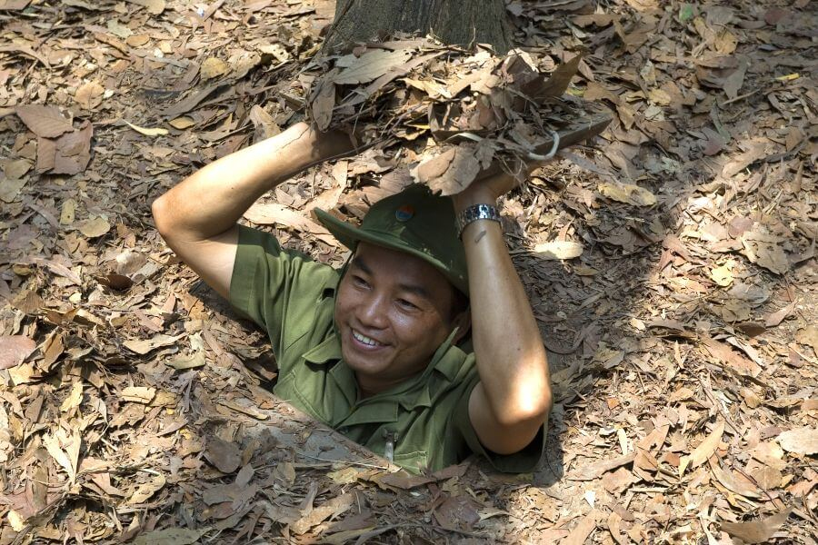 Vietnam Ho Chi Minhstad Soldaat Cu Chi Tunnels