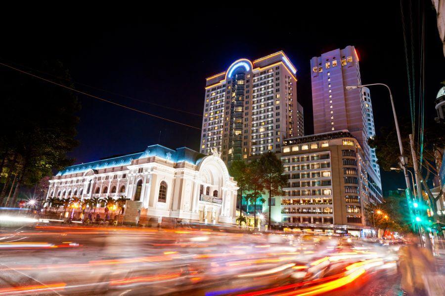 Vietnam Ho Chi Minhstad Verkeer in de nacht
