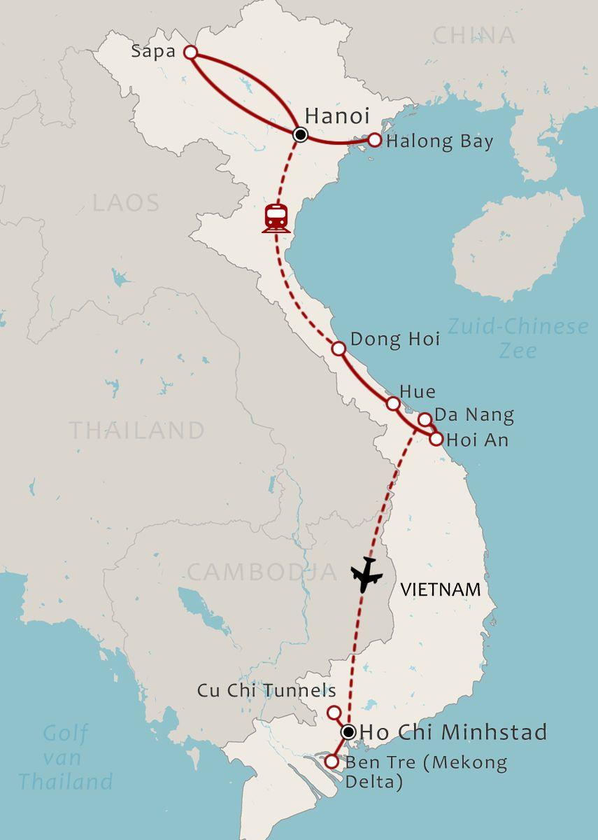 Vietnam Map 19 Daagse familiereis Vietnam van Noord naar Zuid