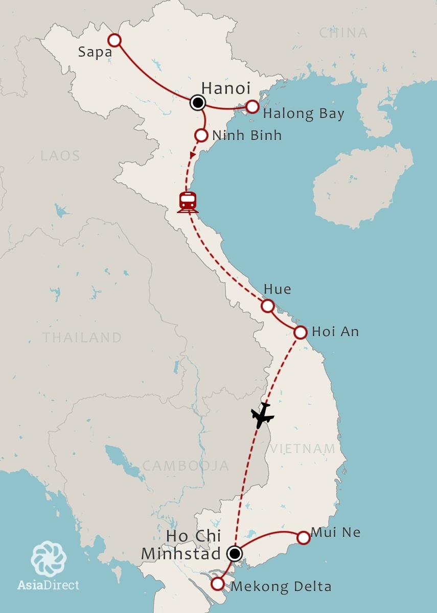 Vietnam Map 21 Daagse rondreis Het beste van Vietnam