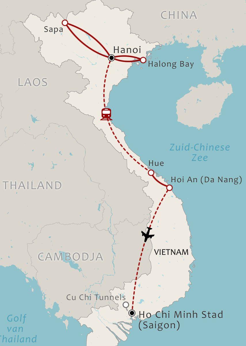 Vietnam map 15 Daagse rondreis Vietnam Do it your way