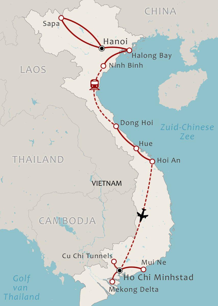 Vietnam map 20 Daagse rondreis Vietnam Compleet