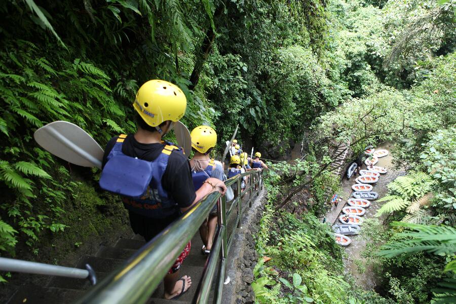Indonesie Bali Ayung Rivier begin van raften