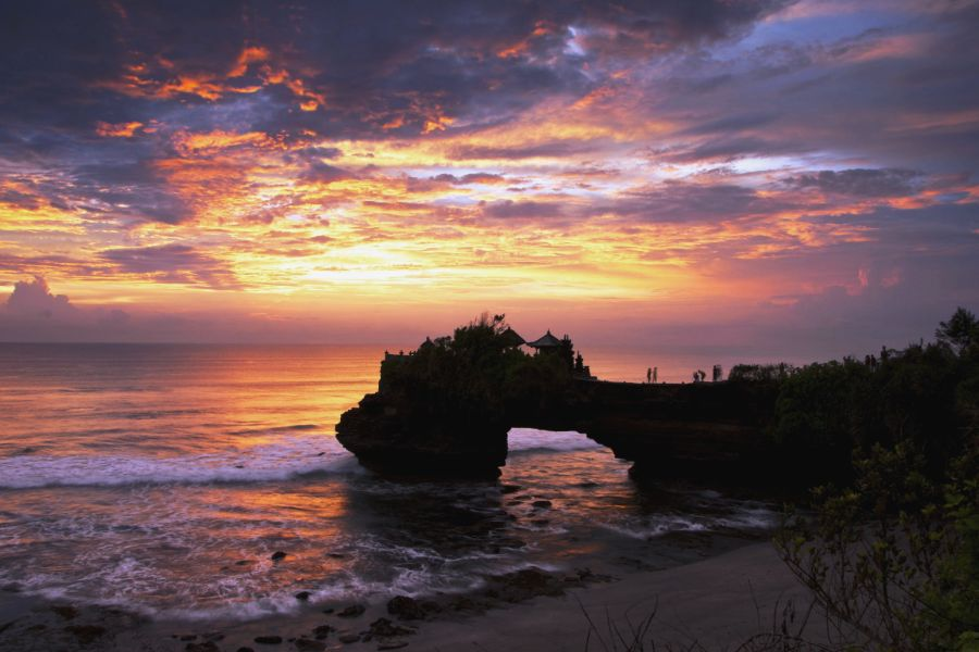 Indonesie Bali Tanah Lot temp Zonsondergang