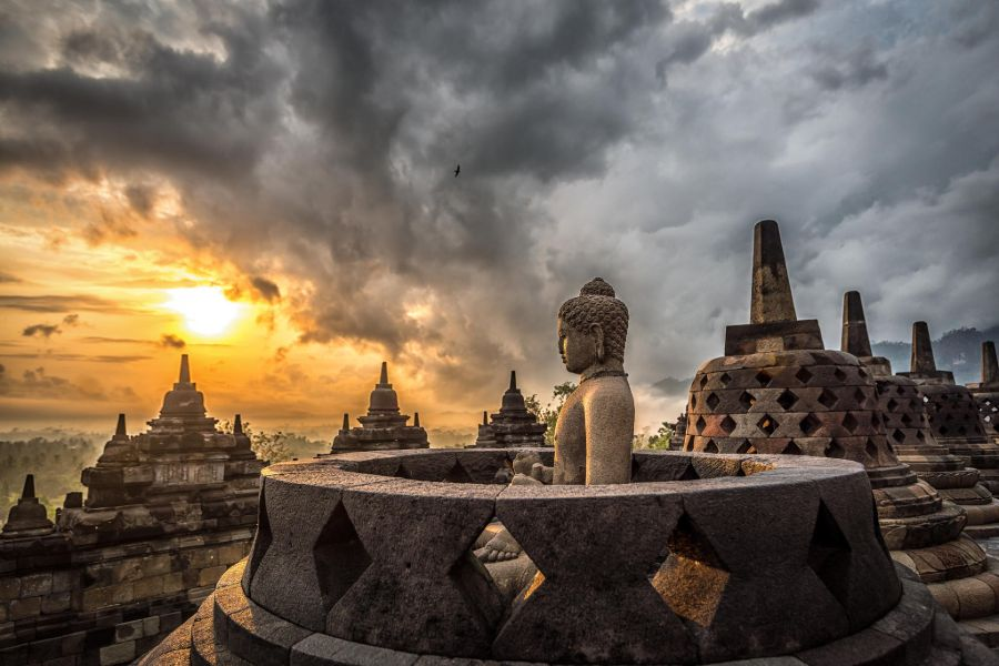 Indonesie Java Borobudur zonsopkomst.