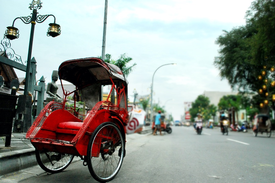Indonesie Java Jogjakarta Becak
