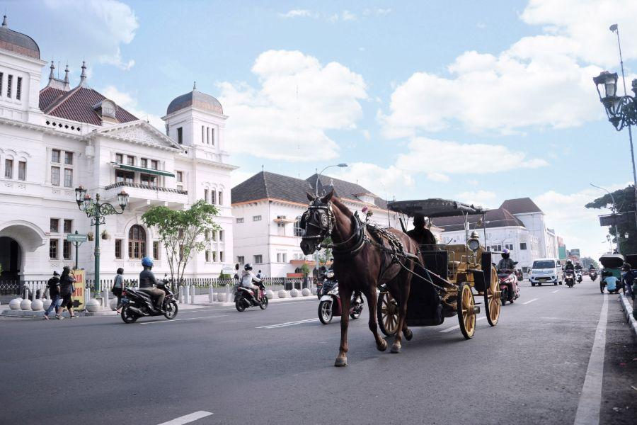 Indonesie Java Jogjakarta Straatbeeld