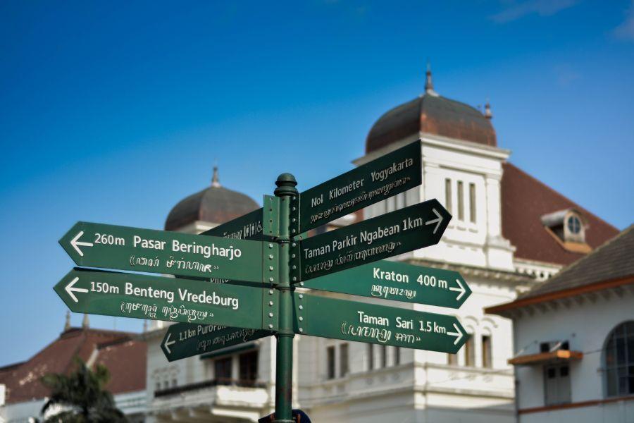 Indonesie Java Jogjakarta Straatbordjes