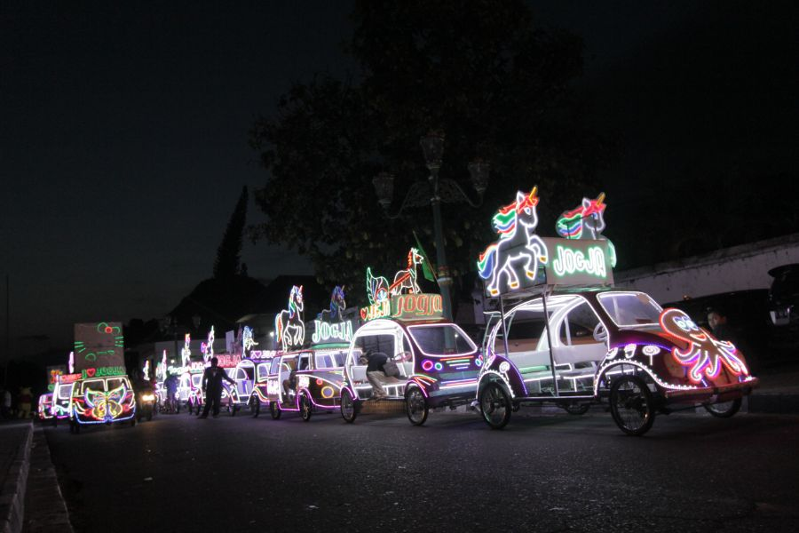 Indonesie Java Jogjakarta lichtparade
