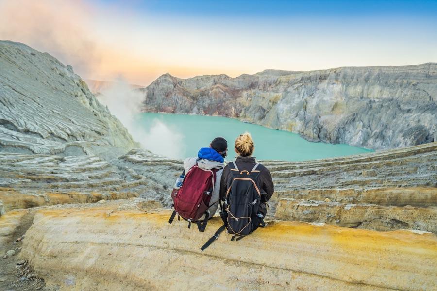Indonesie Java koppel bij de Ijen vulkaan