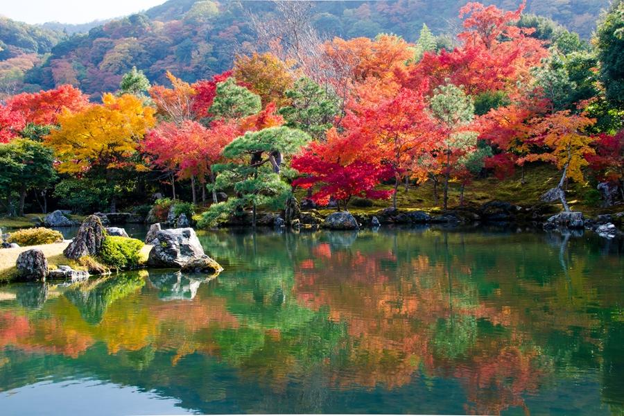 Japan Gify Shirakawago Meer met herfstkleuren