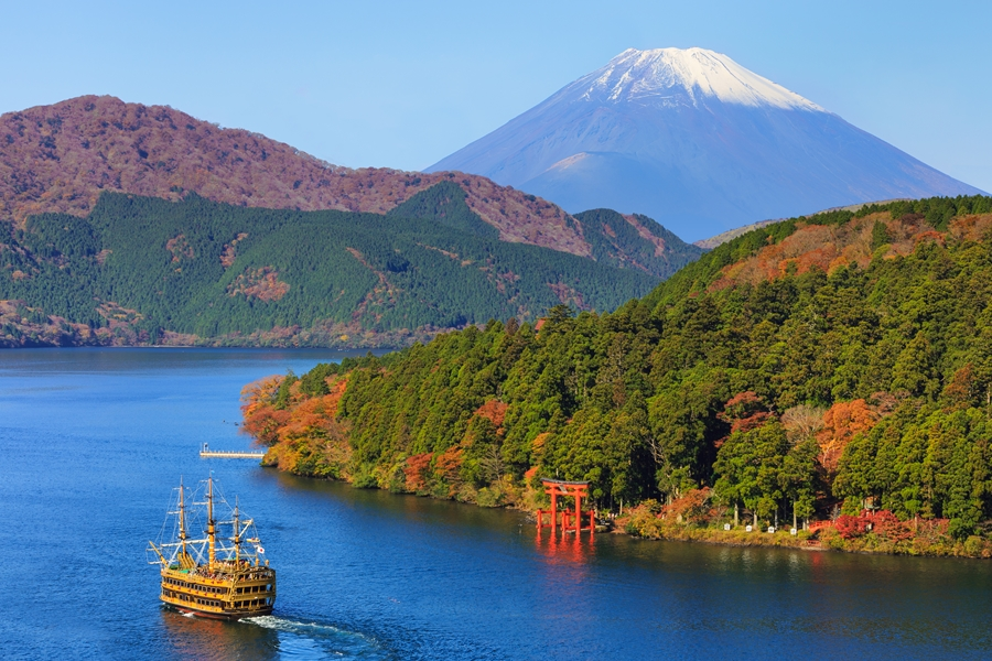 Japan Hakone Mount Fuji Lake Ashi Herfstkleuren